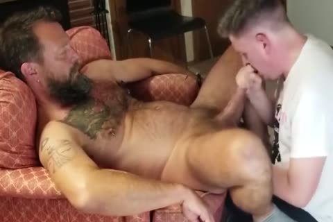 Servicing A naughty hairy stud
